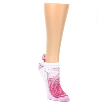 Image of Pink White Stripe Women's No-Show Tab Athletic Socks (side-1-front-02)