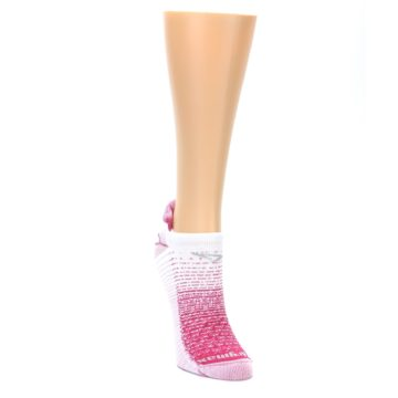 Image of Pink White Stripe Women's No-Show Tab Athletic Socks (side-1-front-03)
