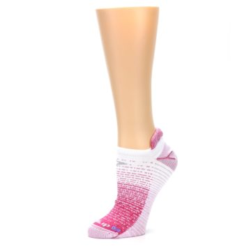 Image of Pink White Stripe Women's No-Show Tab Athletic Socks (side-2-10)