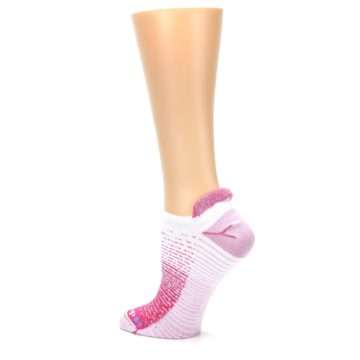 Image of Pink White Stripe Women's No-Show Tab Athletic Socks (side-2-back-14)