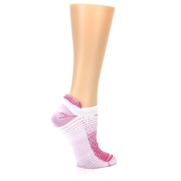 Image of Pink White Stripe Women's No-Show Tab Athletic Socks (side-1-24)