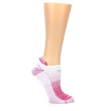 Image of Pink White Stripe Women's No-Show Tab Athletic Socks (side-1-25)