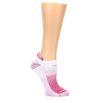 Image of Pink White Stripe Women's No-Show Tab Athletic Socks (side-1-26)