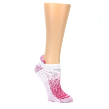 Image of Pink White Stripe Women's No-Show Tab Athletic Socks (side-1-27)