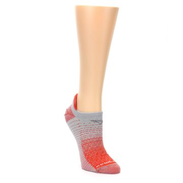 Image of Orange Gray Stripe Women's No-Show Tab Athletic Socks (side-1-front-02)