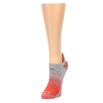 Image of Orange Gray Stripe Women's No-Show Tab Athletic Socks (side-2-front-08)