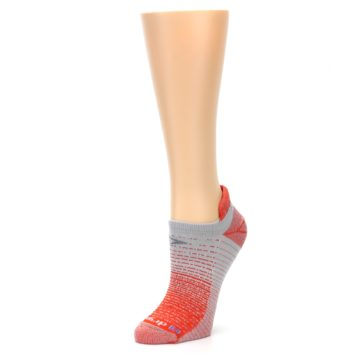 Image of Orange Gray Stripe Women's No-Show Tab Athletic Socks (side-2-09)