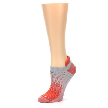 Image of Orange Gray Stripe Women's No-Show Tab Athletic Socks (side-2-10)