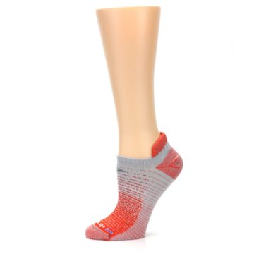 Image of Orange Gray Stripe Women's No-Show Tab Athletic Socks (side-2-11)