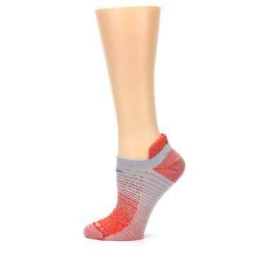 Image of Orange Gray Stripe Women's No-Show Tab Athletic Socks (side-2-12)