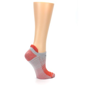 Image of Orange Gray Stripe Women's No-Show Tab Athletic Socks (side-1-24)