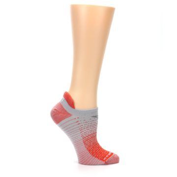 Image of Orange Gray Stripe Women's No-Show Tab Athletic Socks (side-1-25)