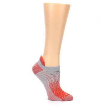 Image of Orange Gray Stripe Women's No-Show Tab Athletic Socks (side-1-26)