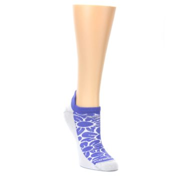 Image of Purple Gray Floral Women's No-Show Tab Athletic Socks (side-1-front-02)