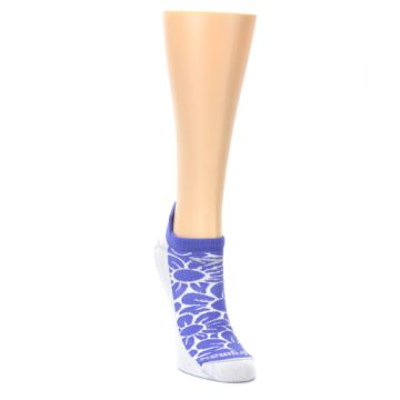 Image of Purple Gray Floral Women's No-Show Tab Athletic Socks (side-1-front-03)