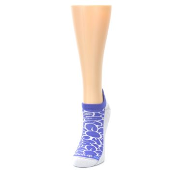 Image of Purple Gray Floral Women's No-Show Tab Athletic Socks (side-2-front-07)