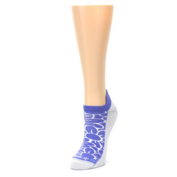 Image of Purple Gray Floral Women's No-Show Tab Athletic Socks (side-2-front-08)