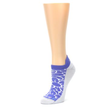 Image of Purple Gray Floral Women's No-Show Tab Athletic Socks (side-2-09)