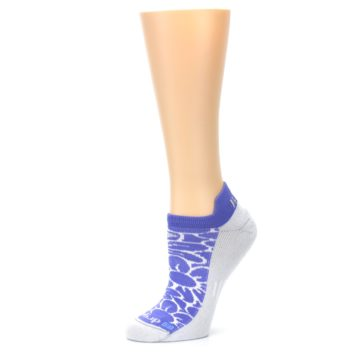 Image of Purple Gray Floral Women's No-Show Tab Athletic Socks (side-2-10)