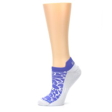 Image of Purple Gray Floral Women's No-Show Tab Athletic Socks (side-2-11)