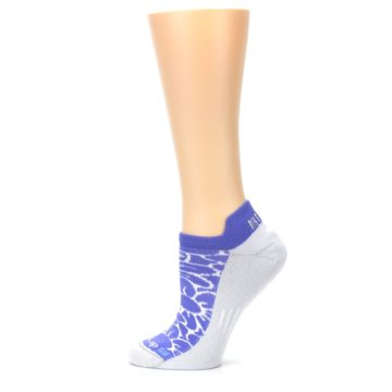 Image of Purple Gray Floral Women's No-Show Tab Athletic Socks (side-2-12)