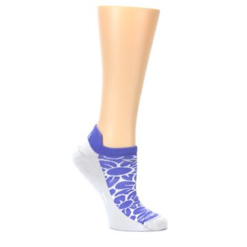 Image of Purple Gray Floral Women's No-Show Tab Athletic Socks (side-1-26)
