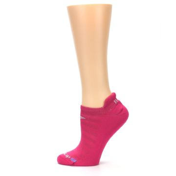 Image of Pink Solid Women's No-Show Tab Athletic Socks (side-2-12)