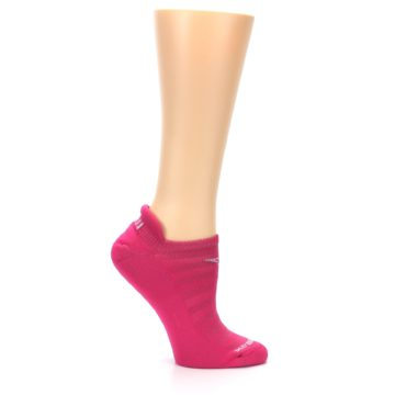Image of Pink Solid Women's No-Show Tab Athletic Socks (side-1-25)