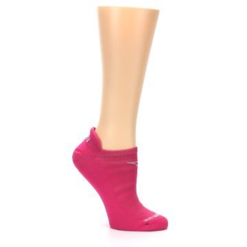 Image of Pink Solid Women's No-Show Tab Athletic Socks (side-1-26)