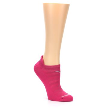 Image of Pink Solid Women's No-Show Tab Athletic Socks (side-1-27)