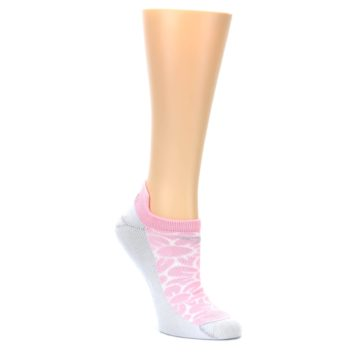 Image of Light Pink Gray Floral Women's No-Show Tab Athletic Socks (side-1-front-01)