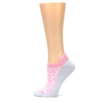 Image of Light Pink Gray Floral Women's No-Show Tab Athletic Socks (side-2-12)