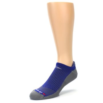 Image of Royal Blue Gray Men's No-Show Tab Athletic Socks (side-2-front-08)