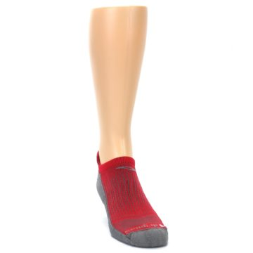 Image of Gray Red Men's No-Show Tab Athletic Socks (side-1-front-03)