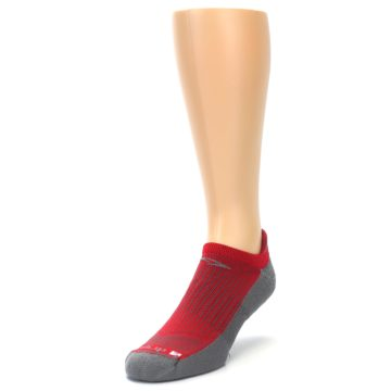 Image of Gray Red Men's No-Show Tab Athletic Socks (side-2-front-07)