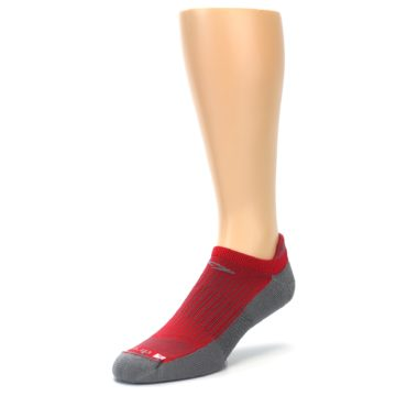 Image of Gray Red Men's No-Show Tab Athletic Socks (side-2-front-08)