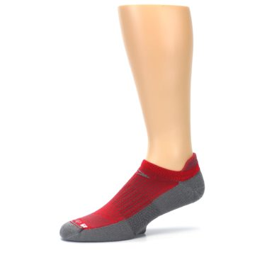 Image of Gray Red Men's No-Show Tab Athletic Socks (side-2-10)