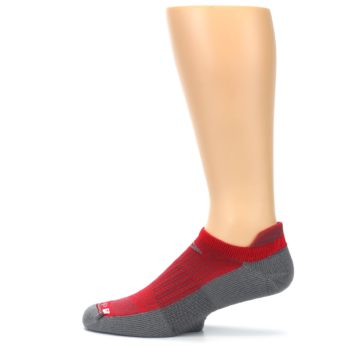 Image of Gray Red Men's No-Show Tab Athletic Socks (side-2-12)