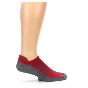 Image of Gray Red Men's No-Show Tab Athletic Socks (side-1-24)