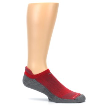 Image of Gray Red Men's No-Show Tab Athletic Socks (side-1-25)