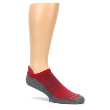 Image of Gray Red Men's No-Show Tab Athletic Socks (side-1-26)