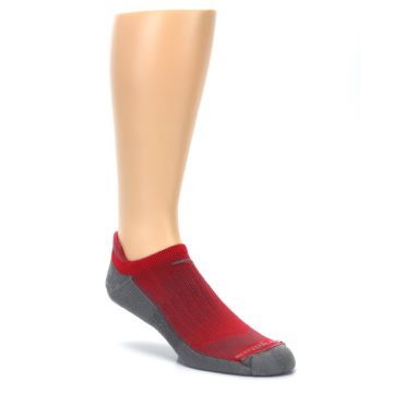 Image of Gray Red Men's No-Show Tab Athletic Socks (side-1-27)
