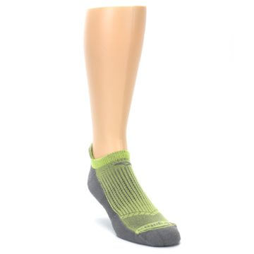 Image of Gray Lime Green Men's No-Show Tab Athletic Socks (side-1-front-02)