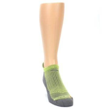Image of Gray Lime Green Men's No-Show Tab Athletic Socks (side-1-front-03)