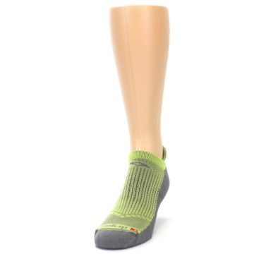 Image of Gray Lime Green Men's No-Show Tab Athletic Socks (side-2-front-06)