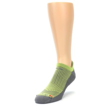 Image of Gray Lime Green Men's No-Show Tab Athletic Socks (side-2-front-07)