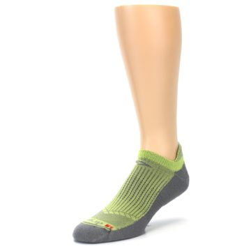 Image of Gray Lime Green Men's No-Show Tab Athletic Socks (side-2-front-08)