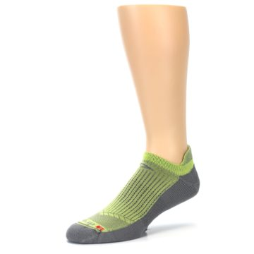 Image of Gray Lime Green Men's No-Show Tab Athletic Socks (side-2-09)