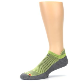 Image of Gray Lime Green Men's No-Show Tab Athletic Socks (side-2-10)