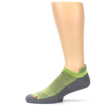 Image of Gray Lime Green Men's No-Show Tab Athletic Socks (side-2-11)
